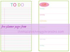 """5.5"""" x 8.5"""" planner pages - blank dates. Comes in 2013 year as well as 2014."""