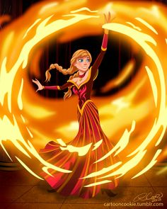 Firebender Anna by racookie3 on deviantART.  Um Ok sure don't really agree but whatever.