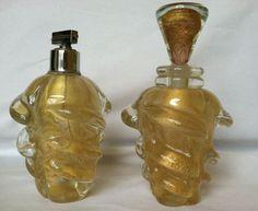 Aventurine Archimede Seguso Murano Glass Gold Flecks Italy Perfume Bottle Set