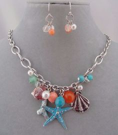 Nautical Ocean Theme Necklace Earrin Set Starfish Shell Coral Fish Charms Blue #HopeCollection