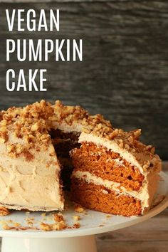 Vegan Pumpkin Cake with Cinnamon Buttercream Frosting. Moist, perfectly spiced a… Vegan Pumpkin Cake with Cinnamon Buttercream Frosting. Moist, perfectly spiced and totally delicious! Healthy Vegan Dessert, Vegan Dessert Recipes, Vegan Treats, Vegan Foods, Vegan Dishes, Whole Food Recipes, Vegan Thanksgiving Desserts, Best Vegan Desserts, Easter Desserts
