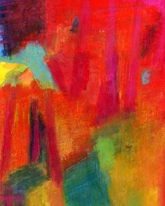 Abstract Art Print of Oil Pastel Drawing, Large 16 x 20, Land of Optimism. $45.00, via Etsy.