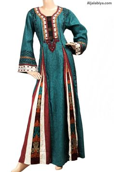"aljalabiya.com: ""Excitement Kaftan"" Cotton and jacquard abaya with print and embroidery (N-13426-11)    $119.00"