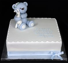 003296 Square Christening Cake with Hand-Made Sugarpaste Bear Model.jpg 874×800 pixels