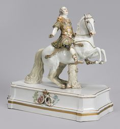 A Meissen large equestrian figure of Augustus III mid-19th century