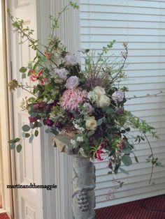 Martin  the Magpie wedding pedestal arrangements, church flowers, natural wedding