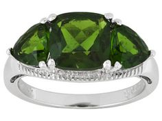 4.05ctw Cushion And Trillion Russian Chrome Diopside Sterling Silver Ring Erv $184.00 #coh241 $119.99 OMFG