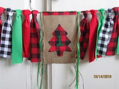 Lumberjack High Chair Banner Highchair Fabric Garland First Birthday Photo Prop Smash Cake Black White Buffalo Plaid Woodland Onederland 1st Birthday Pictures, Fabric Garland, High Chair Banner, Hanging Photos, Jute Twine, Party Hats, Photo Props, Red Green, First Birthdays