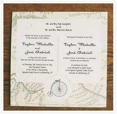 Bilingual english spanish wedding invitation spanish wedding two language wedding invitations google search stopboris Images