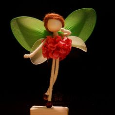Pink Petal Green Fairy Miniature No face doll by OrientalColour, $10.50