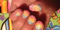 Rainbow cheetah print nails #4