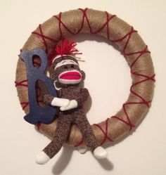 The wreath I made for a sock monkey themed baby room!
