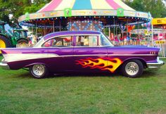 Took my chevy down to the fairgrounds for its first photoshoot!  #cars #chevy #fair #photography #classic #1957 #fire #classiccar #oldcars #purple1957chevy #purplechevy