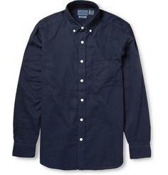 Blue Blue JapanButton-Down Collar Cotton and Linen-Blend Shirt