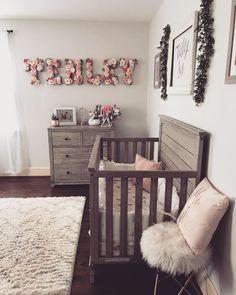 rustic girl& nursery with floral name is part of Baby girl nursery room - Baby Room Boy, Baby Bedroom, Baby Room Decor, Nursery Room, Diy Girl Nursery Decor, Name In Nursery, Girl Wall Decor, Baby Baby, Apartment Nursery