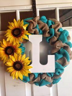 Monogram Burlap Bubble Wreath with turquoise burlap and sunflowers