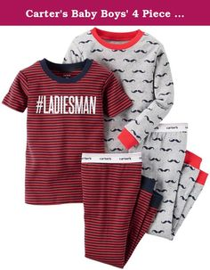Carter's Baby Boys' 4 Piece PJ Set - Ladies Man - 6 Months. 4 Piece PJ Set (Baby) - Ladies Man Carter's is the leading brand of children's clothing, gifts and accessories in America, selling more than 10 products for every child born in the U.S. The designs are based on a heritage of quality and innovation that has earned them the trust of generations of families.