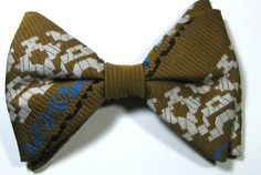 ULTRA RARE Rich Brown Blue White Geometric Vintage Large Bow Tie RARE #unbranded #BowTie