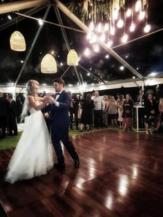 Your first dance together! Make it special. Clear marquee and jarrah dance floor.
