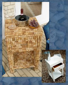upcycled wine cork table with built in wine chiller