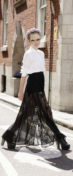 a lace skirt looks fab paired with a classic white shirt!