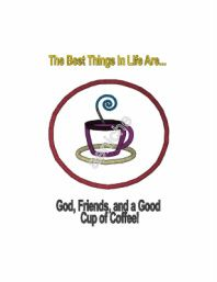 Coffee Cup with Saying MACHINE Applique & Embroidery Design