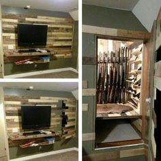 Secret Door To Gun Storage Safe Hereu0027s A Great Example Of A Concealed Door  And Gun Cabinet. We Werenu0027t Able To Find Any Additional Information On This  Build ...
