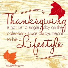 Thanks-giving to Thanks-living — Just Joy Ministries