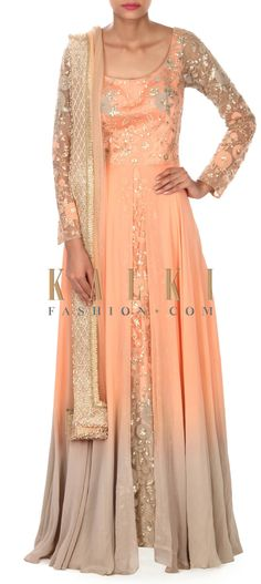 Buy this Peach and grey anarkali suit adorn in thread and sequin only on Kalki