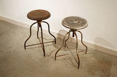 Pair of Early Industrial Stools by KeepGood on Etsy Industrial Stool, Industrial Furniture, Furniture Inspiration, Bar Stools, Etsy, Vintage, Home Decor, Bar Stool Sports, Decoration Home