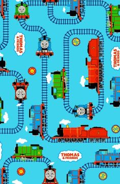 Thomas the train fabric!!! I need to get some and then make David sheets (have them made). He would LOVE this!!