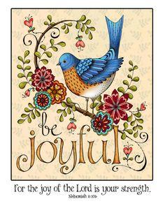 Be Joyful Scripture Art Print di karladornacher su Etsy