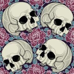 Be Diff - Estampas florais   Skulls & Roses by bediff