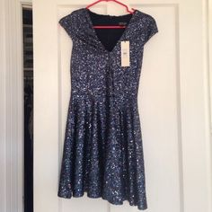 Sequin Fit & Flare Top Shop Dress This beautiful party dress has never been worn and would love to be worn for some great party nights! Beautiful navy color. Topshop Dresses