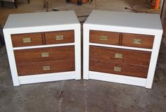 Furniture Refinishing - White & Wood Night stands with Brass handles Los Angeles, CA (San Fernando Valley)