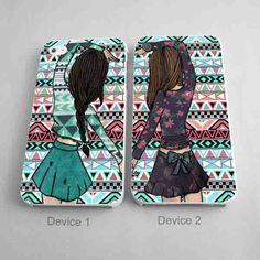 Best Friend Forever Phone Cases BFF Aztec Pattern Couples Phone Case for iPhone 4/4S, 5/5S, 5C Series, iPhone 6, 6+ & Samsung Galaxy Cases Hard Plastic, Rubber Case