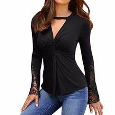 Blusas y camisas · VJGOAL Moda Casual para Mujer Sexy con Cuello en v  Patchwork de Encaje Manga Larga parcialmente 15dd470ee2f
