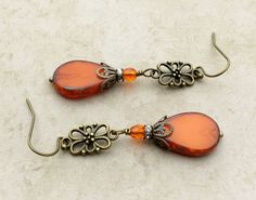 Orange Earrings Victorian Earrings Long Earrings by SmockandStone Wire Jewelry, Boho Jewelry, Beaded Jewelry, Jewelry Design, Orange Earrings, Beaded Earrings, Beaded Bracelets, Handmade Necklaces, Handcrafted Jewelry