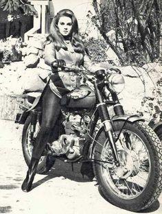 Ann-Margret in Ciné Revue février Triumph Motorcycles, Vintage Motorcycles, Concept Motorcycles, British Motorcycles, Vintage Motocross, Biker Chick, Biker Girl, Ann Margret Photos, Hot Bikes
