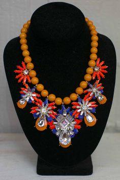 Neon Orange & Purple Statement Necklace #orange #purple #love - JC's Boutique - www.SHOPJCB.com
