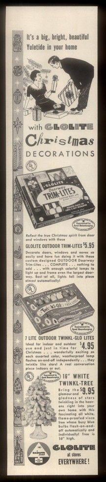 1955 Glolite Christmas tree & light sets 3 styles vintage print ad