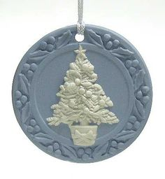 Wedgwood Annual Jasperware Ornament With Box Collectible - 82003 Blue Christmas Decor, Christmas Love, Christmas Colors, Christmas Holidays, Christmas Decorations, Hanging Ornaments, Christmas Tree Ornaments, Christmas Crafts, Ornament Tree