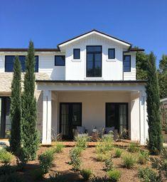 Modern Farmhouse Exterior Paint Color: Exterior Paint Color: Dunn Edwards  White. Home Bunch