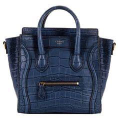 WOW! New Celine 'Prussian Blue' Crocodile 'Nanos' Hand/Shoulder Bag with GHW…