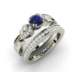 Platinum bridal set with a 1 carat Sapphire and by Diamondere, $2,659.00
