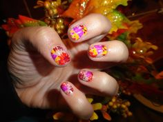 Fall Splatter Flower Nail Wraps by Jamberry Nails