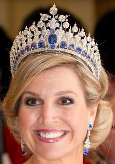 Queen Maxima wearing the tiara with some lovely earrings. | Tiara Mania: Queen Emma of the Netherlands' Sapphire Parure Tiara