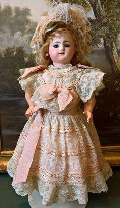 Stunning All Original Bebe Gigoteur Kicking Steiner Bisque Head Doll, circa 1880 Header, Feather Brows, Dark Blonde, Gold Paint, Antique Dolls, Ear Piercings, Kicks, Flower Girl Dresses, The Originals