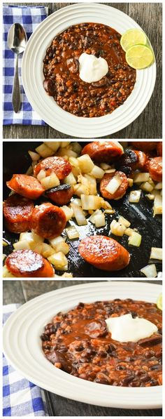 An easy and delicious dinner or side Crock Pot Sausage Black Beans and Rice.
