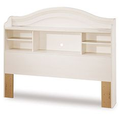 South Shore Furniture, Summer Breeze White Wash Full Bookcase Headboard, 3210093 at The Home Depot - Tablet White Headboard, Bed Frame And Headboard, Storage Headboard, Headboard Ideas, Kids Bed Frames, Kids Bedroom Furniture, Summer Breeze, Kid Beds, Furniture Collection